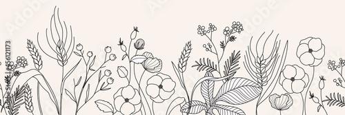 minimal Autumn botanical graphic sketch line art drawing, trendy tiny tattoo design, floral elements vector illustration