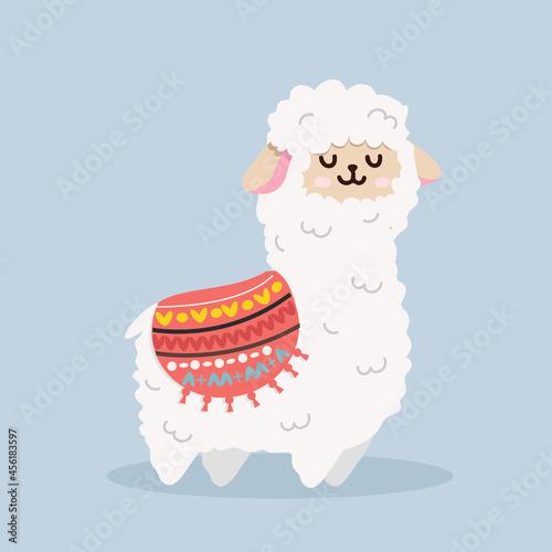 Fototapeta premium Cute alpaca (llama) fluffy vector