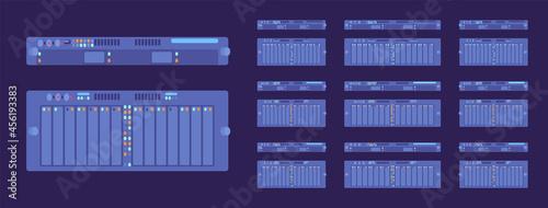 Obraz na płótnie Server modules dark set, technology for high performance computing system