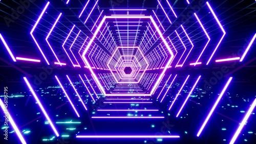 Fotografija Neon Purple Polygon Shape Light Lamp in the Cyber Technology Passage 3D Renderin