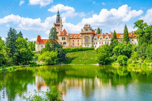 Obraz na plátně Pruhonice castle and natural park landscape with garden lake on sunny summer day, Pruhenice, Czech Republic