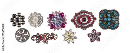 Foto collection of jewelry brooches isolated on white background