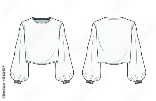 Fotomural Winter Bishop Sleeve Crop Top Front and Back View Vector Fashion Illustration , CAD, Technical Drawing, Flat Drawing