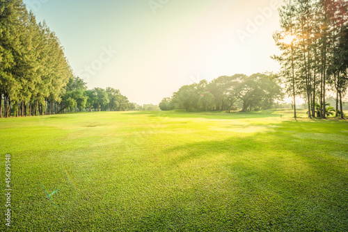 Scenery green golf and meadow with sunbeam in morning, Wonderful sunbeam at the Fototapet