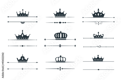 Fotografie, Obraz set of crown loqotype border design