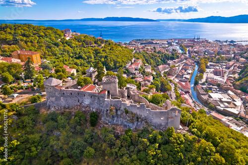 Fototapeta Trsat and Rijeka aerial panoramic view, historic old town