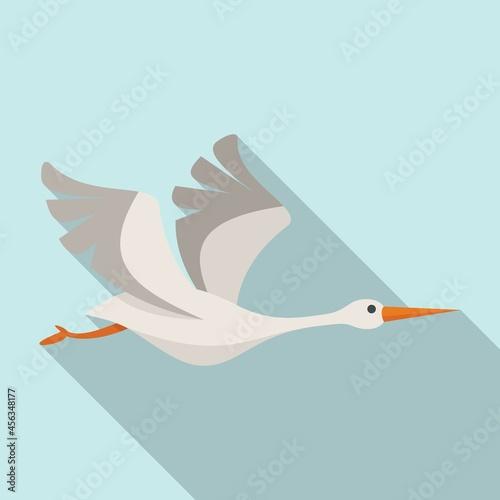 Fototapeta premium Japanese stork icon flat vector. Fly bird
