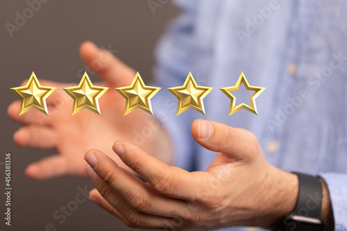 Leinwand Poster five star rating. Service rating, satisfaction concept