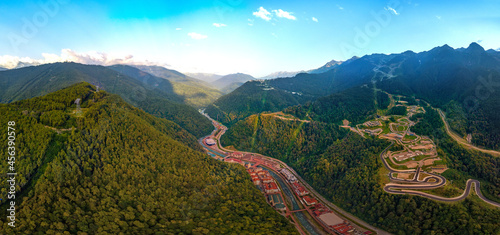 Slika na platnu a large aerial panorama of the Mzymta river valley and the hotels of the Rosa Kh