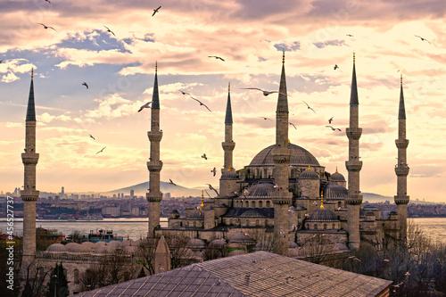Obraz na plátně mosque at sunset