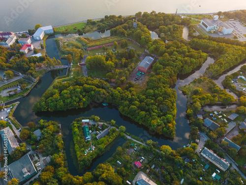 Tela Aerial view of Swedish fortress of Pillau citadel in Baltiysk, Kaliningrad region, Russia at sunset
