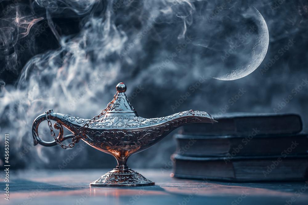 Ramadan kareem background with magic Aladdin lamp