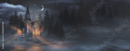 Fotografie, Obraz Night fantasy landscape with abstract mountains and island on the water, wooden house on the shore, church, moonlight, fog, night lamp