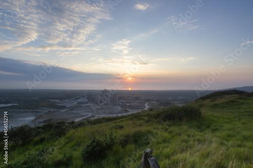 Obraz na płótnie Sonnenuntergang bei Dannes mit Blick Richtung Meer / Nord Pas de Calais / Côte d