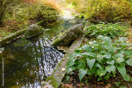 Canvas brook and stones in autumn garden