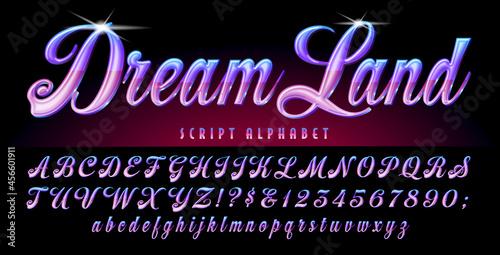 Fotografiet Dream Land is a lyrical script in violet and purple tones