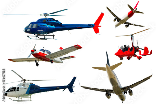Fotografia Seaplanes, airliners, gliders, light-sport airplanes isolated on white backgroun