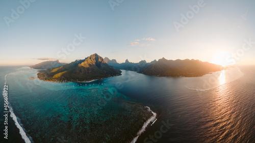 Fotografie, Obraz Moorea Tahiti French Polynesia Island Aerial Sunset Ocean Mountains beach