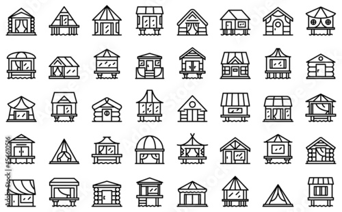 Fotografie, Obraz Bungalow icons set outline vector. African cabin. Beach cottage