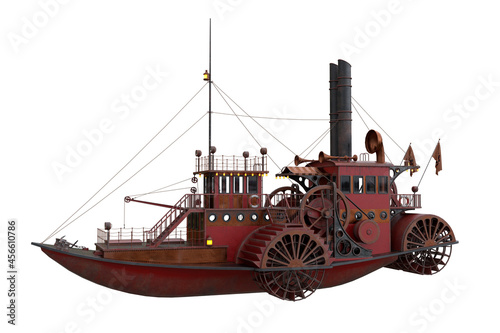 Obraz na plátně 3D rendering of a Steampunk styled paddle steamer boat isolated on a white background