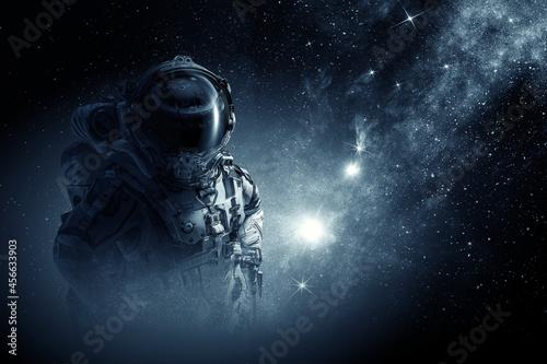 Fototapeta Astronaut at spacewalk . Mixed media