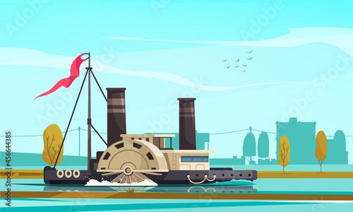 Fotografie, Obraz Steamboat Vintage Transport Composition