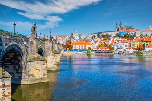 Obraz na plátně Prague Czech Republic, city skyline at Charles Bridge and Prague Castle, Czechia