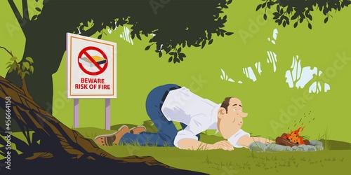 Fotografie, Obraz Man kindles fire in forest
