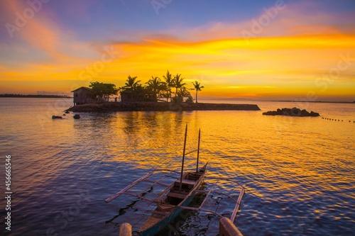 Carta da parati 南国の島の夕焼け