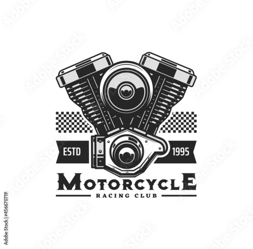 Motorcycle engine icon with vector motor bike or chopper vehicle two cylinder piston engine Fotobehang