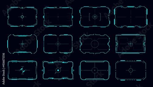 Fotografie, Obraz HUD vector frame of aim control panel and target screen borders