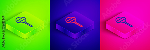 Fotografia Isometric line Lollipop icon isolated on green, blue and pink background