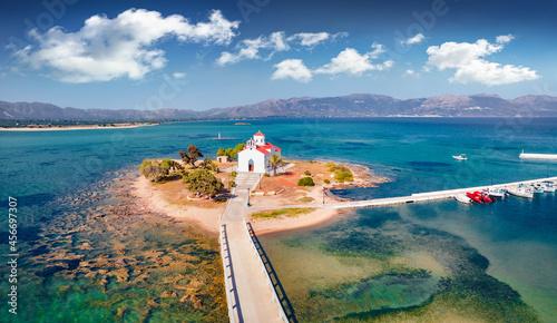 Obraz na płótnie View from flying drone of Saint Spiridon church in Elafonisos port