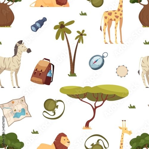 Fototapeta premium Safari pattern. Africa travel, leo giraffe and zebra. Tree and tourism accessories vector seamless texture