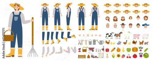 Fotografie, Obraz Young female farmer constructor set. Person working on a farm.