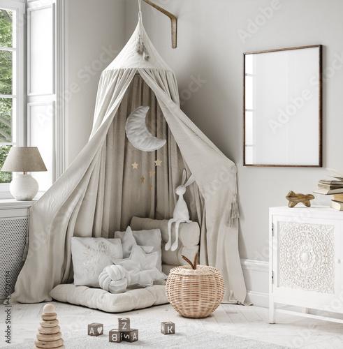 Mock up frame in children room, Scandi-Boho style interior background, 3D render
