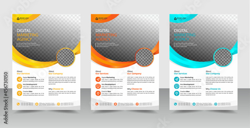 Foto Corporate business conference flyer or brochure, poster, Leaf, design template