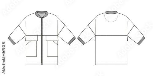 Fényképezés Fashion technical drawing of oversized bomber jacket