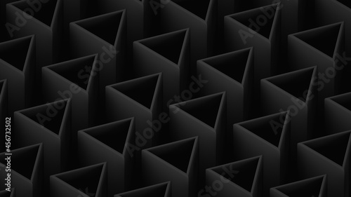 Canvastavla Dark low-rise abstract background. Triangular hollow rods