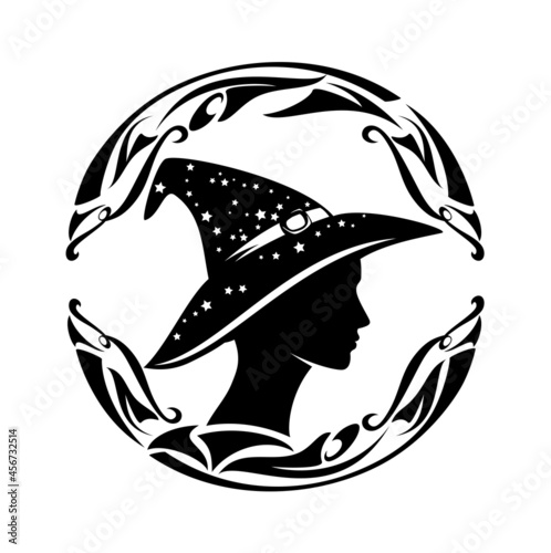 Fotografiet beautiful fortune teller wearing witch hat with stars - profile sorceress head b