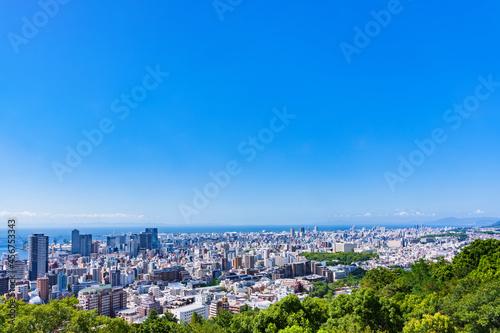 Photographie 神戸市 俯瞰 パノラマ 【 夏 の 都市風景 】