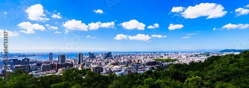 Obraz na plátne 神戸市 俯瞰 パノラマ 【 夏 の 都市風景 】