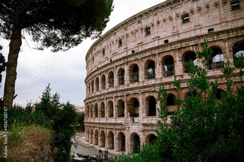 Canvas Print Side shot of Coloseum in Rome Italy on a cloudy day