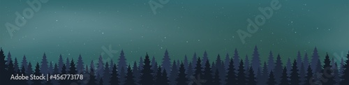 Fototapeta Starry Night Vector with conifers
