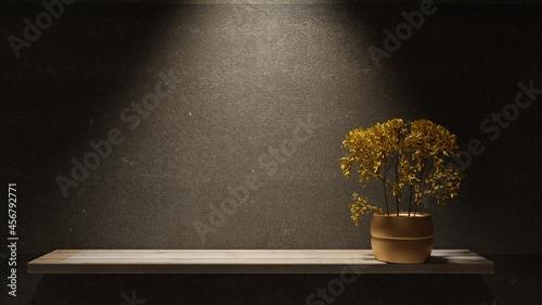 Fotografie, Obraz Shelf with a dry flower in night interior