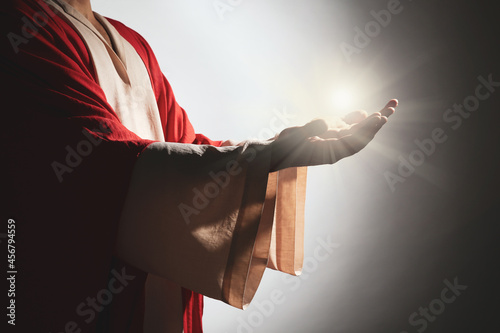 Stampa su Tela Jesus Christ on grey background, closeup
