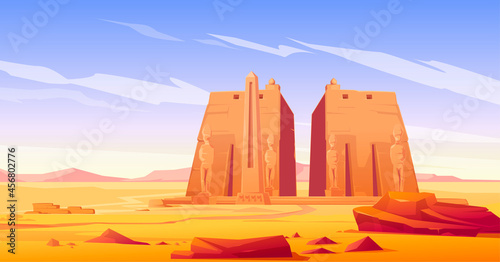 Fotografie, Obraz Ancient egyptian temple with statue and obelisk