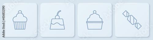 Billede på lærred Set line Cake, , Pudding custard and Candy