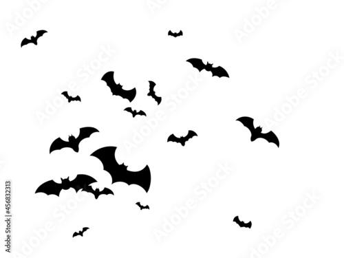 Leinwand Poster Flock bat isolated. Many flying bats on white.