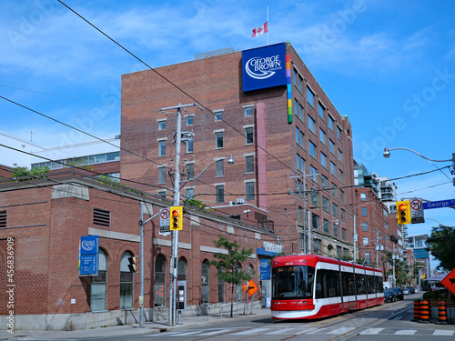 Fototapeta premium Toronto, Canada - September 13, 2021: George Brown College's downtown King Street campus is housed in a former biscuit factory dating from 1874